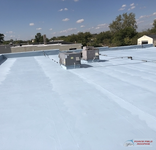 installed elastomeric roof coating
