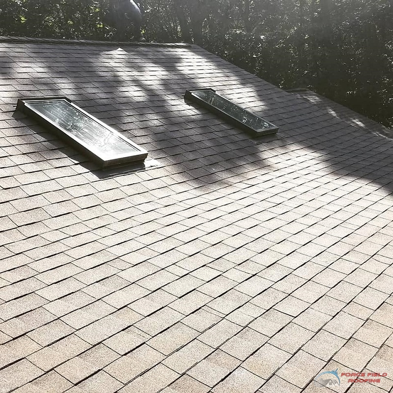 A Picture of a Shingle Roof with Skylights.